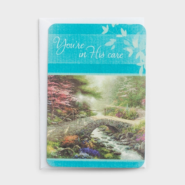 Thomas Kinkade - Get Well - You're in His Care - 1 Premium Card, KJV