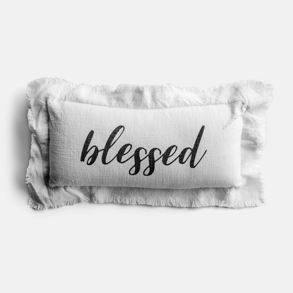 Another day another blessing! This cotton lumbar pillow will freshen up any space, featuring a printed BLESSED sentiment across the front, double flange frayed trim, and a zipper closure. Removable insert ships vacuum packed for storage.