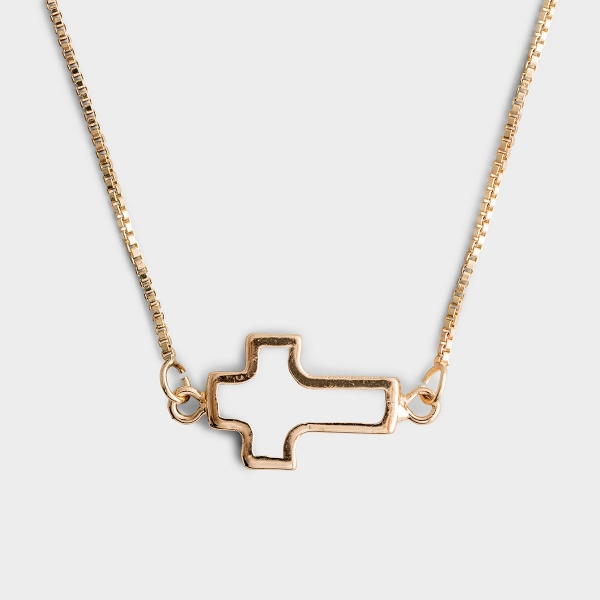 Gold Mother of Pearl Cross Necklace