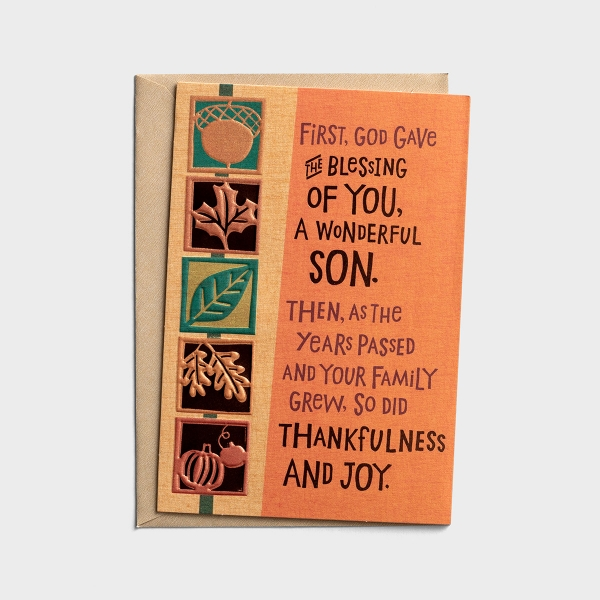 Thanksgiving - Son and Family - Thankfulness and Joy - 1 Premium Card