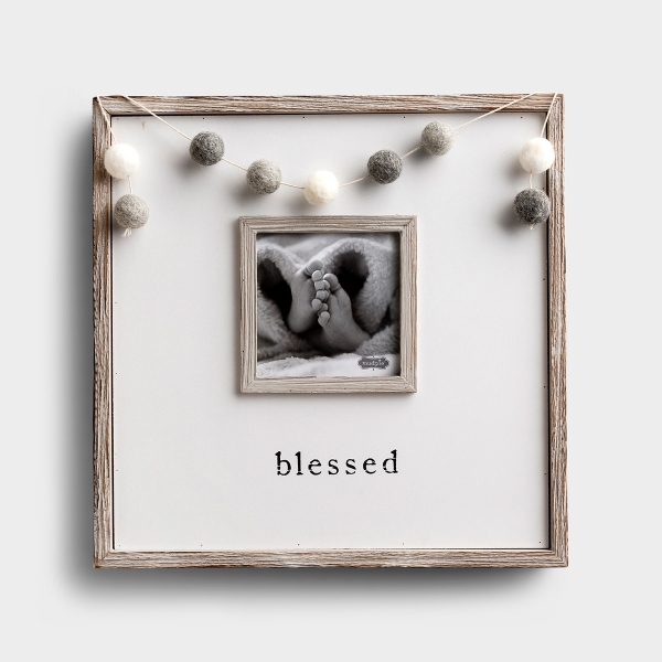 Blessed Gray Pom-Pom Garland Picture Frame