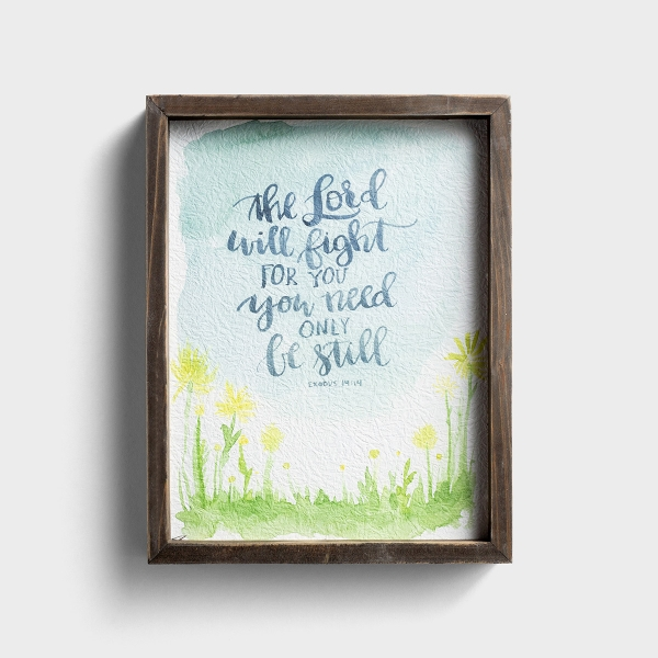 The Lord Will Fight for You - Wood Framed Canvas Wall Art