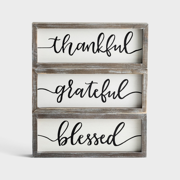 Thankful, Grateful, Blessed - Dual-Sided Wood Framed Boards, Set of 3