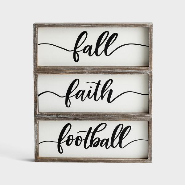 Fall, Faith, Football - Dual-Sided Wood Framed Boards, Set of 3