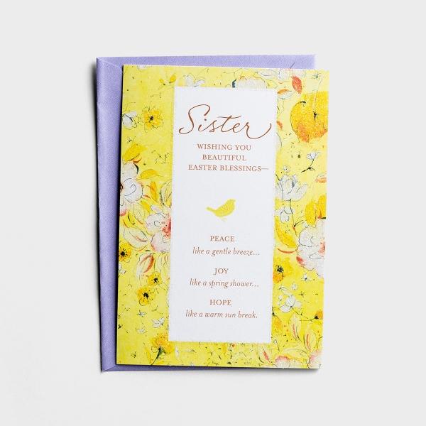 Easter - Sister - Wishing You Beautiful Blessings - 1 Premium Card