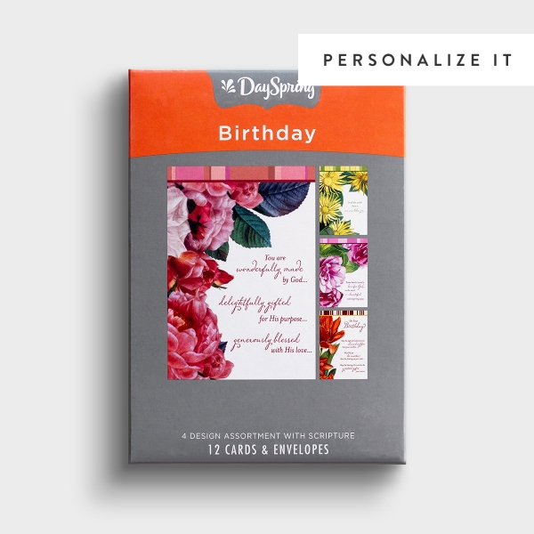 Birthday - Beautiful Sentiments - 12 Boxed Cards