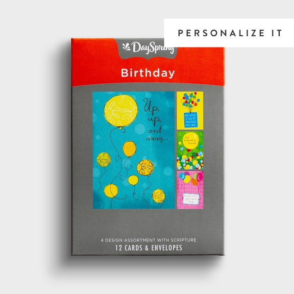 Birthday - Bright Balloons - 12 Boxed Cards