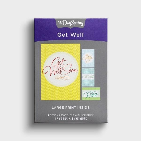 Get Well - God Bless You - 12 Boxed Cards, KJV