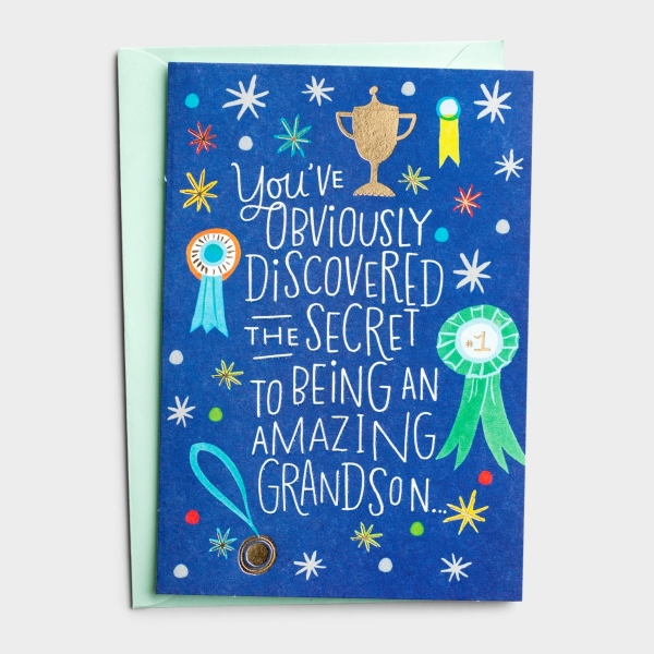 Birthday - Grandson - Secret To Being Amazing - 1 Premium Card