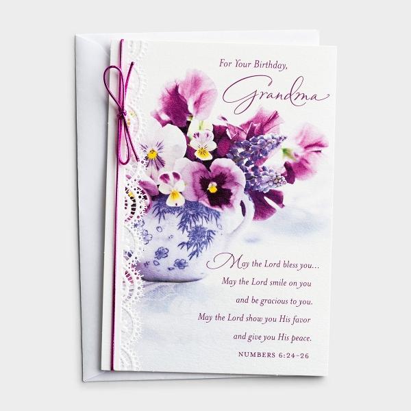 Birthday - Grandma - May The Lord Bless You - 1 Premium Card