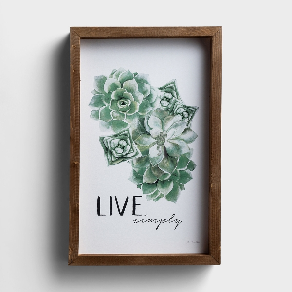 Live Simply - Succulent Framed Wall Art