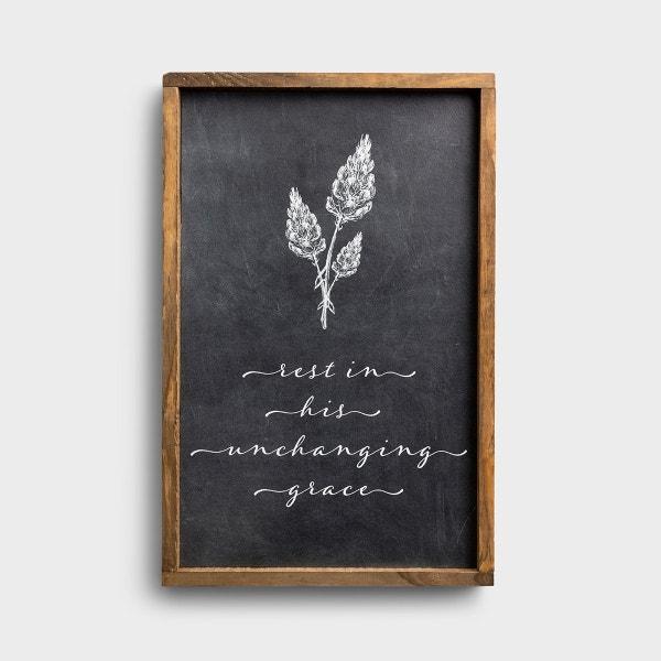 Rest In His Grace - Framed Wall Board