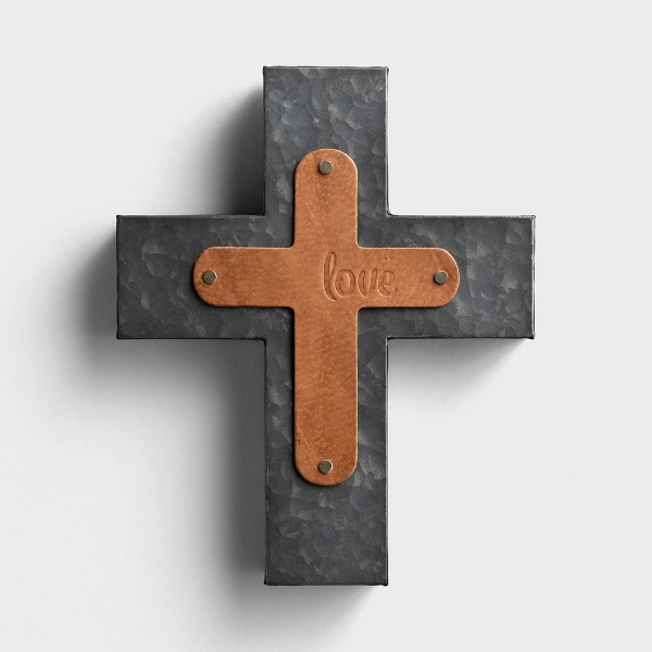 Love - Leather & Metal Wall Cross