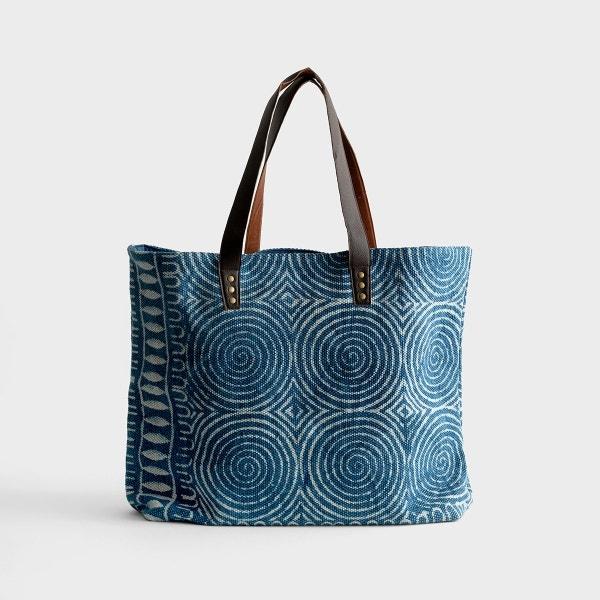 Indigo Block Print - Large Tote Bag