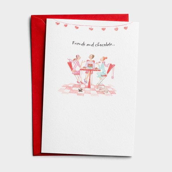 Valentine's Day - Friendship - Friends and Chocolate - 1 Premium Card