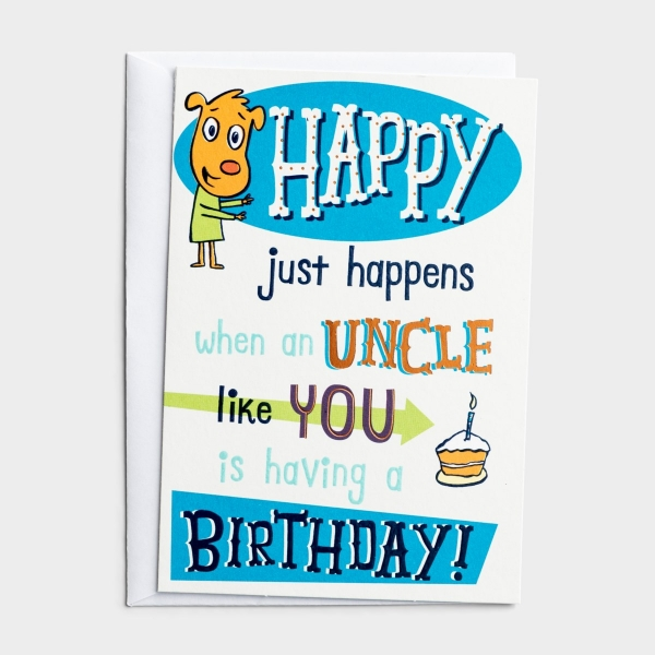 Birthday - Uncle - Happy Just Happens - 1 Premium Card