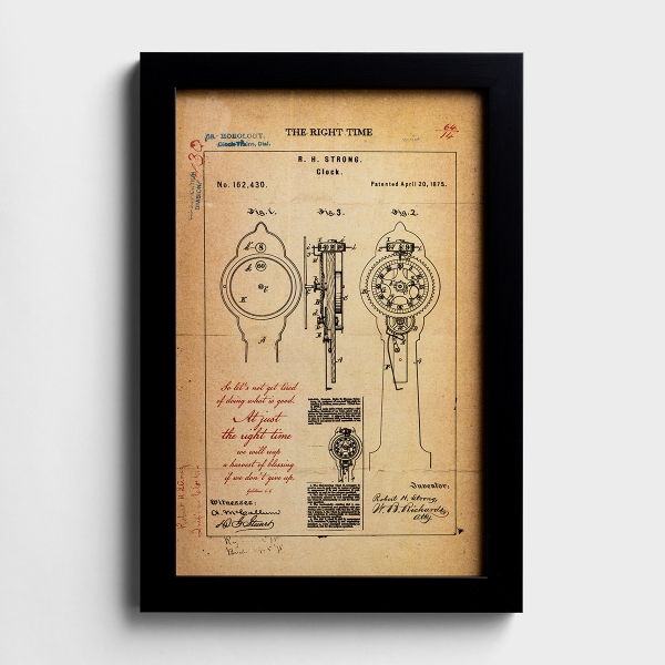 The Right Time - Clock Patent Framed Art