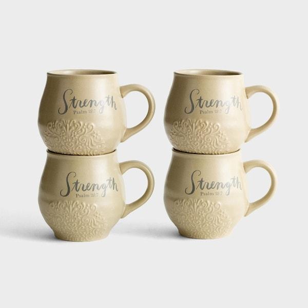 Strength - Stoneware Mugs, Set of 4