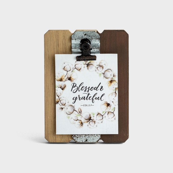 Blessed & Grateful - Small Wood & Metal Photo Clipboard