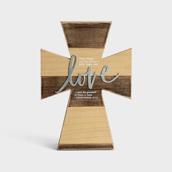 Love - Wood & Metal Cross