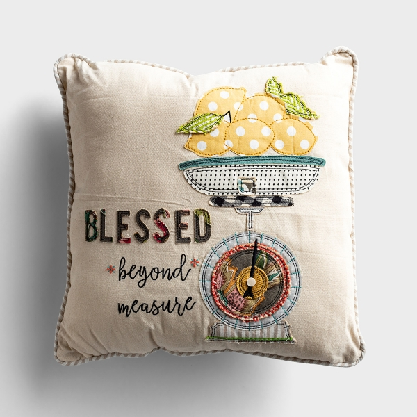 Blessed Beyond Measure - Canvas Embroidered Pillow