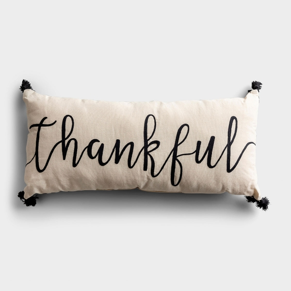 Cultivate thankfulness in your home with this embroidered throw pillow. Perfect year-round to remind us to be thankful for all we have. The fun black fringe tassels highlight the large script font embroidered on this lumbar pillow.