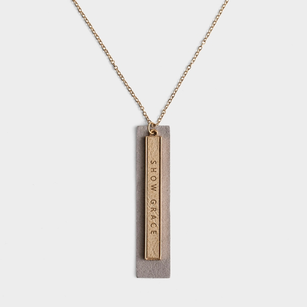 """Show Grace - 18"""" Genuine Leather Layered Bar Pendant Necklace"""