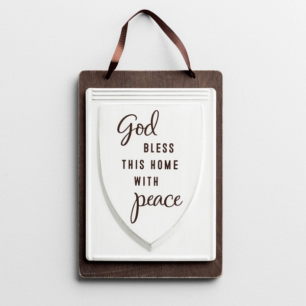 God Bless This Home with Peace - Wood & Tin Hanging Plaque