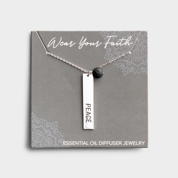 Peace - Silver & Lava Stone Necklace