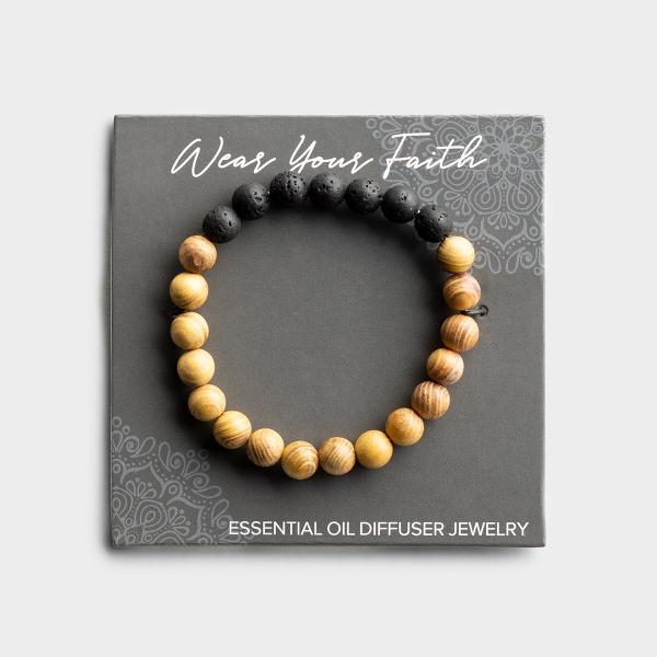 Light Wood & Lava Stone Beaded Bracelet
