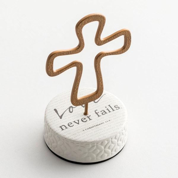 Love Never Fails - Pedestal Cross
