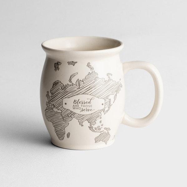 Blessed Are Those Who Serve - Inspirational Mug for Women - Cream