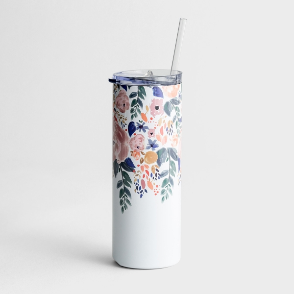 Skinny Stainless Tumbler with Lid and Straw, 20oz - Autumn Blossom