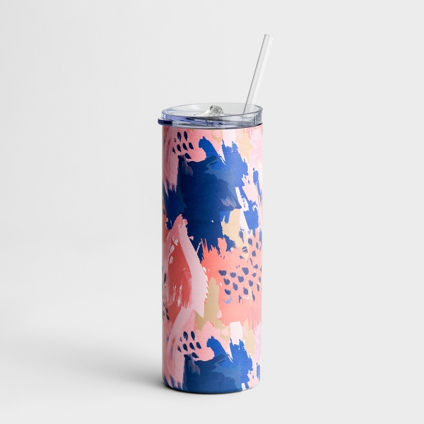 Skinny Stainless Tumbler with Lid and Straw, 20oz - Galileo