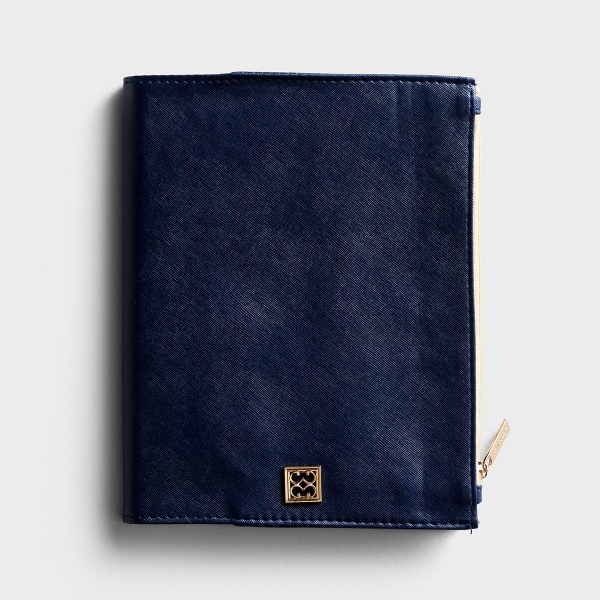 Vegan Leather Zip Pouch Journal - Navy