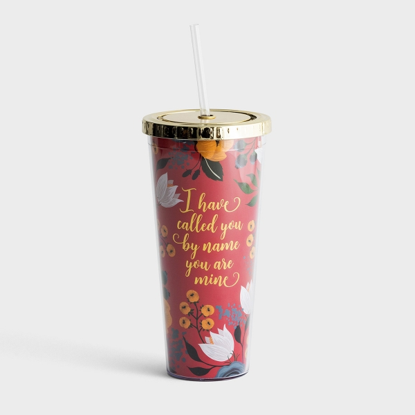 I Have Called You By Name - Floral Insulated Straw Tumbler