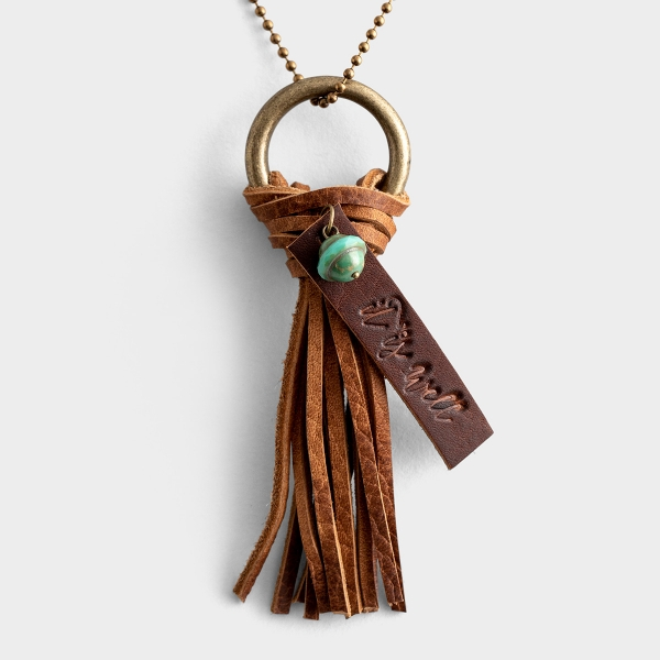 It Is Well - Leather Tassel Necklace