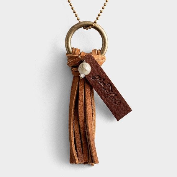 Grateful - Leather Tassel Necklace