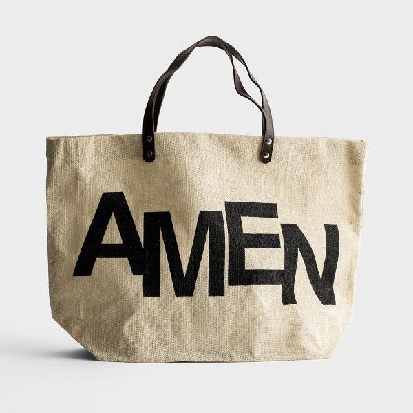 Amen - Jute Tote Bag