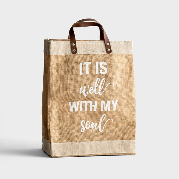 It Is Well with My Soul - Market Jute Tote Bag