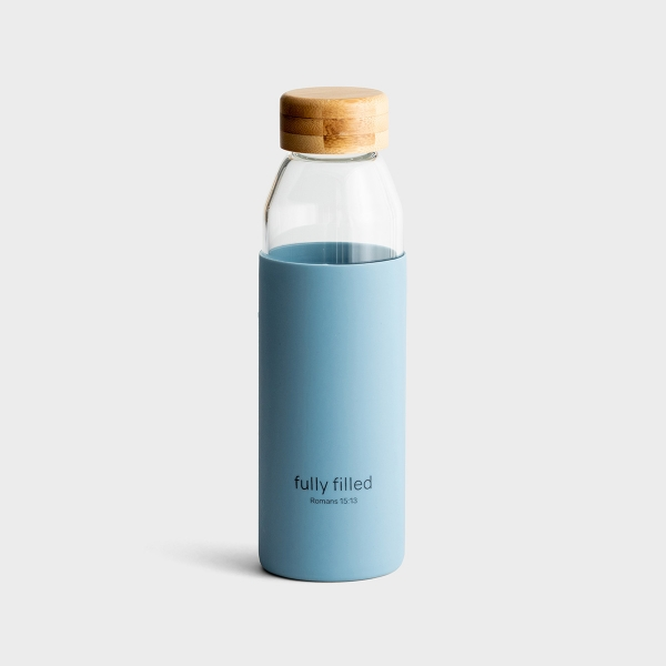 Fully Filled - Glass Water Bottle with Bamboo Lid