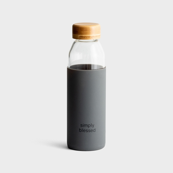 Simply Blessed - Glass Water Bottle with Bamboo Lid