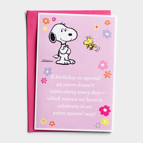 Peanuts® - Birthday - Pink - 1 Greeting Card