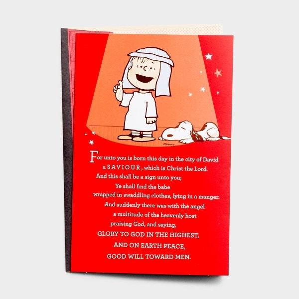 Peanuts Christmas - Saviour, Christ the Lord - 18 Premium Christmas Boxed Cards, KJV