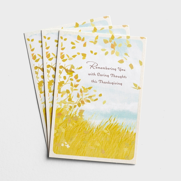 Difficult Thanksgiving - Remembering You With Caring Thoughts - 3 Greeting Cards