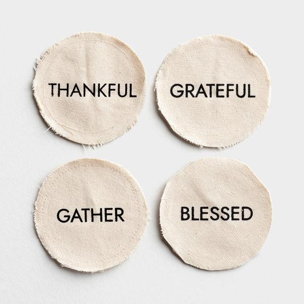 Thankful - Canvas Coasters - Set of 4