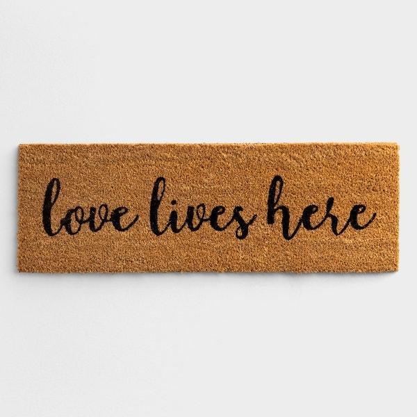 """Love Lives Here - Coir Doormat 30"""" x 10"""""""