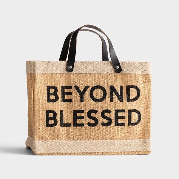 Beyond Blessed - Mini Market Jute Tote Bag