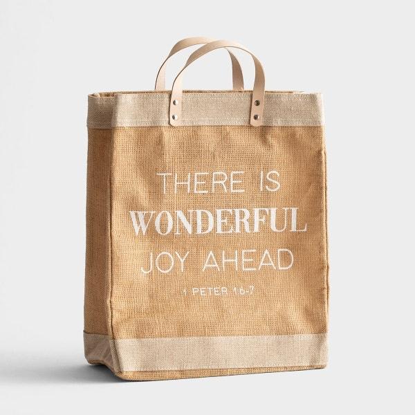 There Is Wonderful Joy Ahead - Market Jute Tote Bag