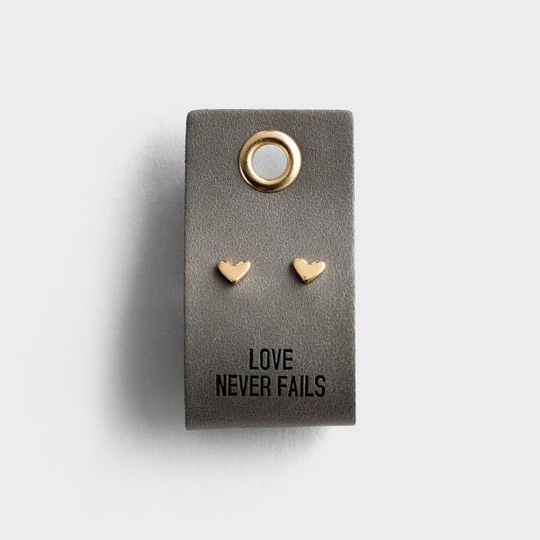 Love Never Fails - Heart Stud Earrings